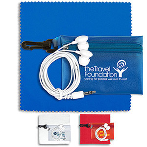 Earbud Tech Kit with Microfiber Cleaning Cloth In Translucent Carabiner Zipper Pouch