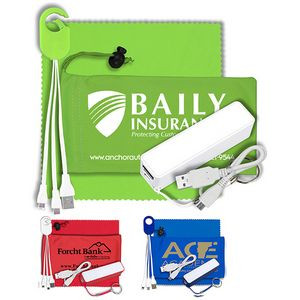 """""""ChargeBank"""" Mobile Tech Power Accessory Kit w/Cables & Cloth in Cinch Pouch"""