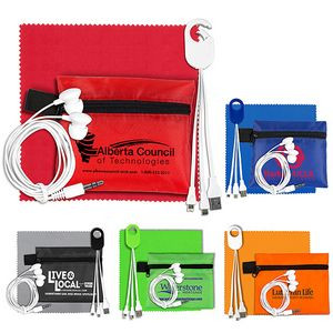 """""""ReCharge Plus"""" Mobile Tech Charging Cables & Earbud Kit in Zipper Pouch"""