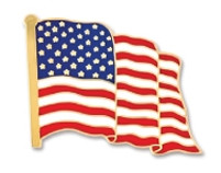 Die Struck Stock Shape Lapel Pins - American Flag