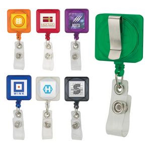 Square Retractable Badge Holder w/ Standard Clip