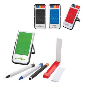 Mobile Device Stand with Pen, Pencil, Stylus, Microfiber Cloth