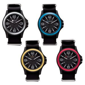 Watch Creations Unisex Watch w/Nylon Strap & Colored Bezel